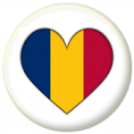 Chad Country Flag Heart 25mm Pin Button Badge
